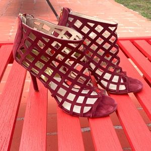 Michael Kors Maroon Caged Heels Size 9